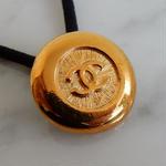 ヴィンテージ CHANEL シャネル ボタン ココマーク 22mm ゴールド ヘアゴムのおまけ付(c-114)
