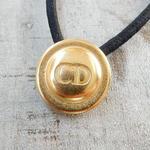 ヴィンテージ Christian Dior クリスチャン・ディオール CD ゴールドボタン  18mm ボタン ゴールド ヘアゴムのおまけ付(cd-1)