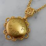 ヴィンテージ CHANEL シャネル 20mm CHANEL PARIS ゴールドボタン ネックレスパーツのおまけ付(c-168)