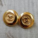 ヴィンテージ CHANEL シャネル ココマーク ゴールドボタン 18mm イヤリングパーツのおまけ付(c-113)