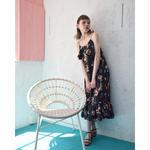 sleeveless flower print dress