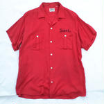 Vintage Hilton / 50s Rayon Bowling Shirts / Red / Made in USA