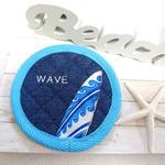 刺繍&サーフボードコースター (WAVE ブルー)