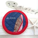 刺繍&サーフボードコースター (ALOHA レッド)
