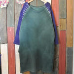 "JAVARA ""RAGLAN DYE"" sweat one piece (green&purple)"