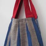 会津木綿のタック入りバッグのキット(赤)