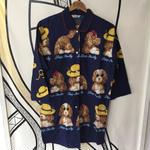 【個性的】レトロ ドッグ 日本製 ロング パジャマシャツ