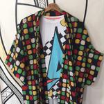 【KIMONO】ヴィンテージ マルチDOT カラフル 着物&羽織り 2点セット