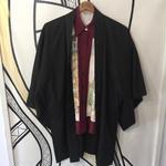 【KIMONO】ヴィンテージ ブラック ロング 着物 羽織 ガウン