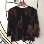 【一点物】襟なしレトロ絵画柄ヴィンテージシャツトップス