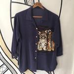 【一点物】レオパード&タイガー デザイン ヴィンテージ 柄シャツ