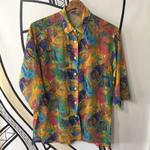 【奇抜】ピカソ風 デザイン シースルー 七分袖 柄シャツ