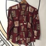 【個性的】襟デザイン 絵画柄 バーガンディ 柄シャツ