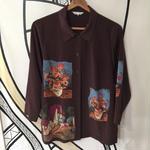 【個性的】ゴッホ風 デザイン 日本製 ブラウン 柄シャツ