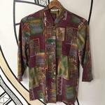 【個性的】チャイナデザインパープル8分丈柄シャツ