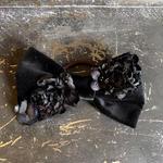 【限定】Lilaf リボンとお花のヘアゴム black