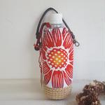夏らしい可愛い花の浴衣生地で作った 麻底のペットボトルホルダー(再販)