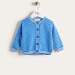 【organic cotton】ハチの巣ニットカーディガン(ブルー/キッズ)