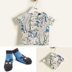 【送料無料!出産祝いセット】Tシャツ/スタイ/ソックス3点セット/ブルー