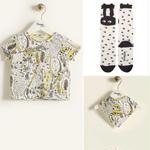 【送料無料!出産祝いセット】Tシャツ/スタイ/ソックス3点セット/イエロー