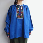 Cotton embroidery blue blouse
