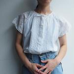 Lace sleeve white blouse