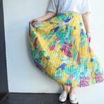 Yellow print long skirt