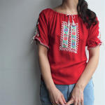 1970's  East Europe Red blouse