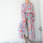 Europe flower gown one-piece