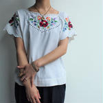 Flower Embroidery french sleeve  blouses