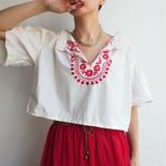 1920's Embmbroidery cotton antique blouse