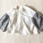 【予約商品】【 folk made 2017AW】#16 shaggy ribbon blouse / オフ白×トップグレーシャギー