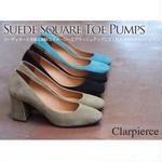 clarpierce -クラーピアス-  スクエアトゥヒールパンプス  7cmヒール 送料無料