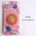 iPhone6/6s用 フラワーアートケース 押し花デザイン 0907_7