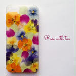 iPhone5/5s/SE用 フラワーアートケース 押し花デザイン 0612_4