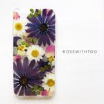 押し花iPhoneケース 0528_2  purple mix
