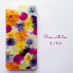 iPhone6/6s用 フラワーアートケース 押し花デザイン 0612_1