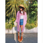 Pink long knit cardigan
