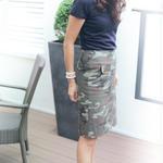 今年大流行 大人世代のすっきりカモフラージュ柄スカート