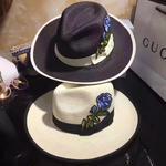 新入荷【Gucci/グッチ】 ハット 麦わら帽子   小顔&UVケア帽子