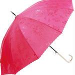 晴雨兼用 傘専門店  通販  東京  雨傘 ワンタッチ ジャンプ グラスファイバー サビない 旅傘【12本骨  浮水  ローズ  Red 】
