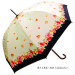 -18~19℃ 傘専門店 通販 東京 日傘 雨傘 晴雨兼用 ワンタッチ ジャンプ グラスファイバー 軽量 サビない 旅傘 【シルバーコート  cuteflower White】