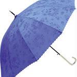晴雨兼用 傘専門店  通販  東京  雨傘 ワンタッチ ジャンプ グラスファイバー サビない 旅傘【12本骨  浮水  ローズ  Blue 】