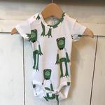 【mini rodini】 Frogs GREEN ロンパース