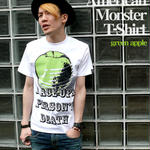 tgw033tee-gr - American Monster(green apple) Tシャツ -G-( パンク ロックTシャツ 林檎 リンゴ アップル )