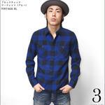 sh76802-bu73 - 20/ネル ブロックチェック ワークシャツ(ブルー)- VINTAGE EL -G- 長袖 ネルシャツ アメカジ カジュアル ロック