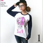 a07rglt - JACK ( ジャック ) ラグランロングスリーブ -G- スカル ドクロ パンク アメカジ ロンT 長袖