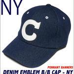 pb001-ny - デニム エンブレム ベースボール キャップ ( ネイビー )-PENNANT BANNERS-G- CAP 帽子 野球 アメカジ カジュアル 紺色