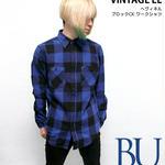 sh73809-bu73 - ヘヴィネル ブロックチェック ワークシャツ(ブルー)- VINTAGE EL - ヴィンテージイーエル -G-( ネルシャツ アメカジ 長袖シャツ )
