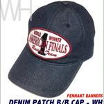 pb008-wh - デニム ワッペン ベースボール キャップ ( ホワイト×紺ステッチ )-PENNANT BANNERS-G- CAP 帽子 野球 カジュアル ネイビー 紺色